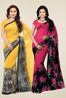 Ishin Pink & Yellow  Printed Sarees (Pack Of 2)