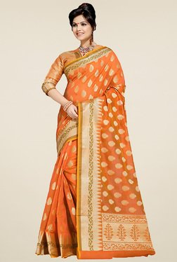 Ishin Orange Banarasi Silk Saree