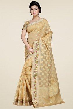 Ishin Beige Banarasi Silk Saree