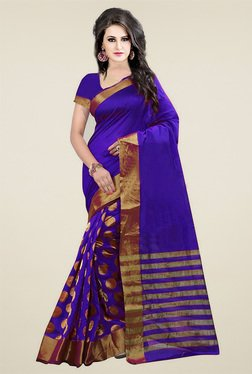 Ishin Royal Blue Zari Saree With Blouse