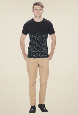 Leo Sansini Black Round Neck Regular Fit T-Shirt
