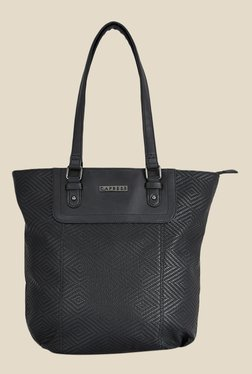 Caprese Lilia Black Textured Tote Shoulder Bag