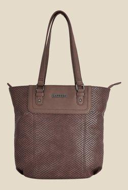 Caprese Lilia Brown Textured Tote Shoulder Bag