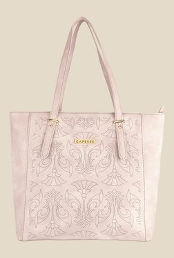 Caprese Misandre Dull Pink Textured Tote Shoulder Bag