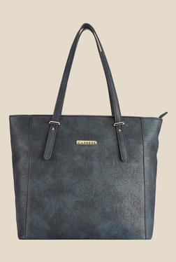 Caprese Misandre Navy Textured Tote Shoulder Bag
