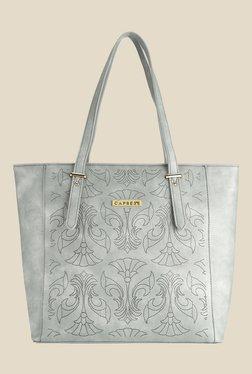 Caprese Misandre Grey Textured Tote Shoulder Bag