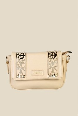 Horra Skin Coloured Textured Sling Bag