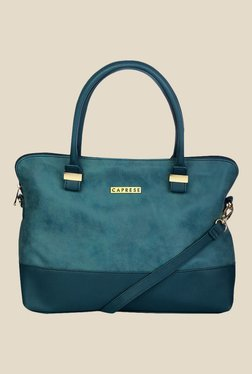 Caprese Lisa Teal Blue Solid Shoulder Bag