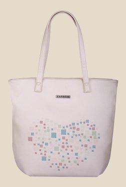 Caprese Love Cream Printed Tote Shoulder Bag