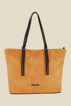 Caprese Delphy Ochre Solid Tote Shoulder Bag
