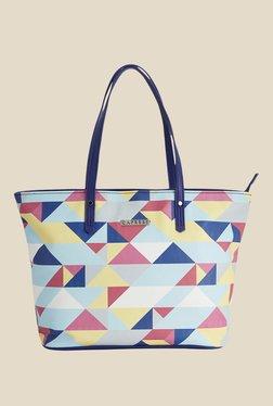 Caprese Paula Blue Printed Tote Shoulder Bag