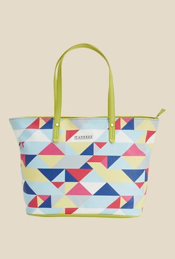 Caprese Paula Lime Green Printed Tote Shoulder Bag