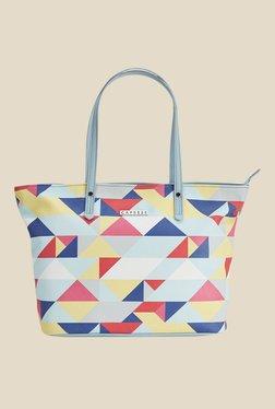 Caprese Paula Pale Blue Printed Tote Shoulder Bag