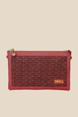 Horra Shimmer Red Textured Clutch