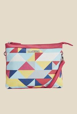 Caprese Paula Coral Red Printed Sling Bag