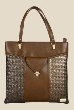 Horra Quilt Brown Textured Tote Shoulder Bag