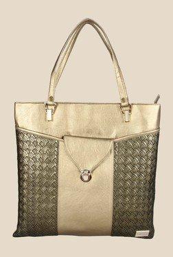 Horra Quilt Golden Textured Tote Shoulder Bag