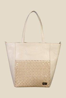 Horra Smock Beige Textured Trapeze Shoulder Bag