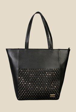 Horra Smock Black Textured Trapeze Shoulder Bag