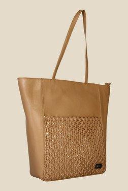 Horra Smock Brown Textured Trapeze Shoulder Bag