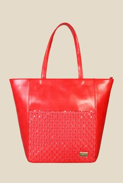 Horra Smock Red Textured Trapeze Shoulder Bag