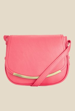 Caprese Helena Bright Pink Textured Sling Bag