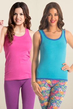 PrettySecrets Pink & Sky Blue Non Wired Tank Top (Pack Of 2)