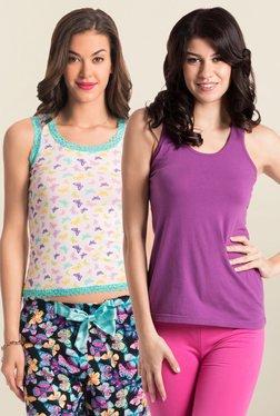 PrettySecrets Cream & Purple Cotton Tank Top (Pack Of 2)