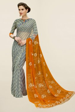 Triveni Black & Orange Paisley Print Chiffon Saree