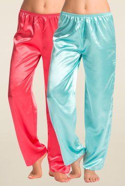 PrettySecrets Turquoise & Coral Solid Pyjama (Pack Of 2)