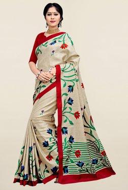 Triveni Beige Floral Print Art Silk Saree