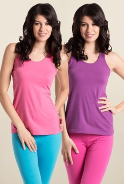 PrettySecrets Pink & Purple Non Wired Tank Top (Pack of 2)