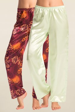 PrettySecrets Lime & Maroon Solid Pyjama (Pack Of 2)