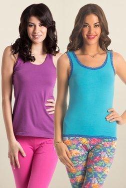 PrettySecrets Aqua Blue & Purple Cotton Tank Top (Pack Of 2)