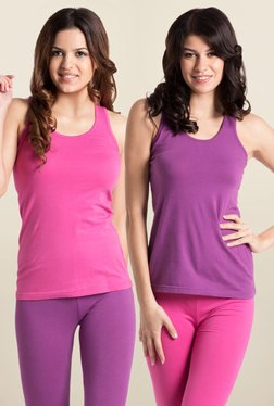PrettySecrets Fuchsia & Purple Cotton Tank Top (Pack Of 2)
