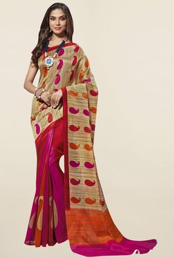 Triveni Pink & Red Paisley Print Art Silk Saree