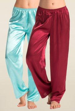 PrettySecrets Maroon & Turquoise Solid Pyjama (Pack Of 2)