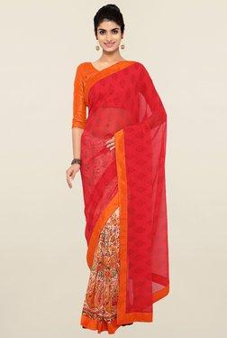 Triveni Red & Off White Printed Faux Georgette Saree