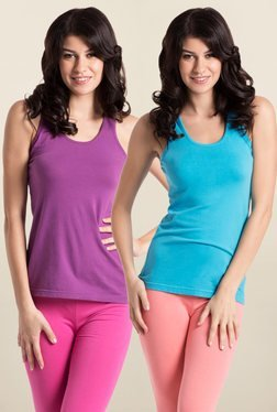 PrettySecrets Purple & Aqua Blue Cotton Tank Top (Pack Of 2)