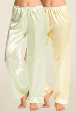 PrettySecrets Lime & Cream Solid Pyjama (Pack Of 2)