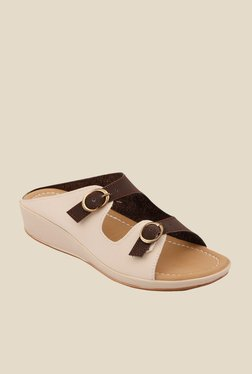 Cocoon Beige & Brown Wedge Heeled Sandals