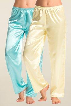 PrettySecrets Cream & Turquoise Solid Pyjama (Pack Of 2)