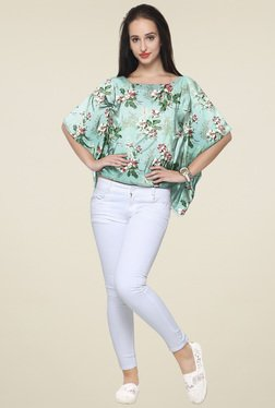 Ahalyaa Mint Printed Regular Fit Top