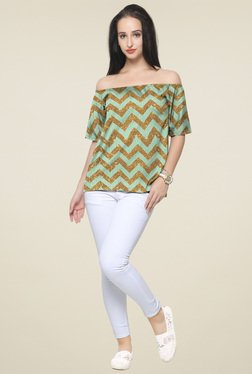 Ahalyaa Green & Gold Chevron Printed Off-Shoulder Top