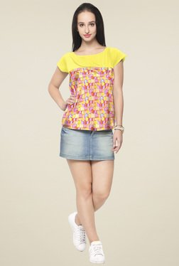 Ahalyaa Yellow Printed Regular Fit Top