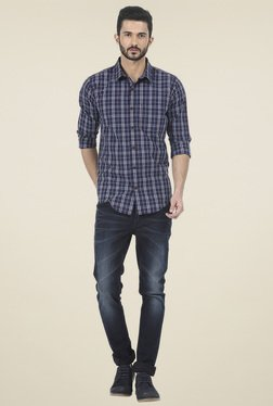 Basics Navy Checkered Full Sleeves Cotton Shirt