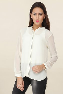 Soie Off White Solid Shirt