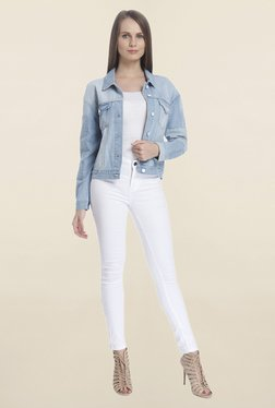 Vero Moda Light Blue Solid Jacket