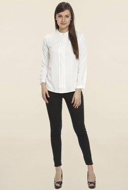 Soie White Solid Shirt