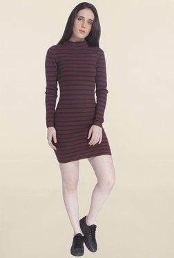 Vero Moda Brown Striped Dress